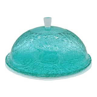 Aqua / Turquoise Blue Embossed Glass Covered Cake Plate For Sale