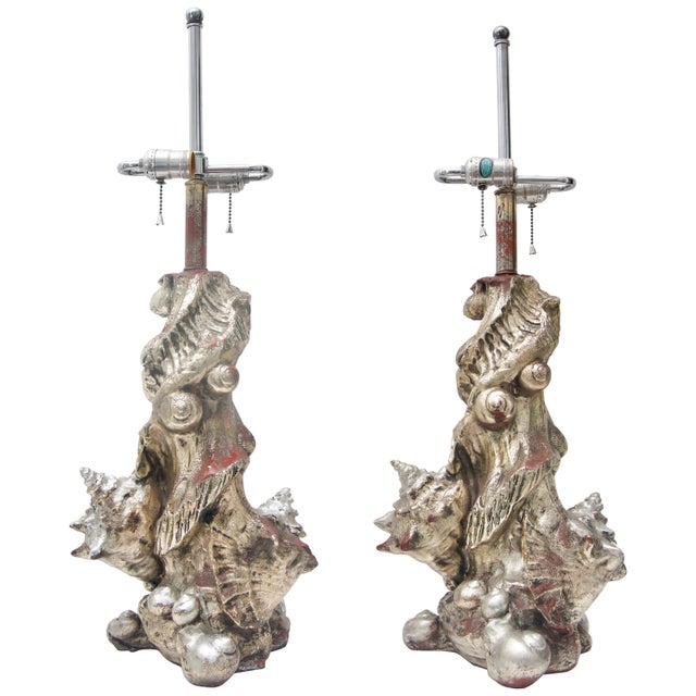 Silver 1970s Seashell Table Lamps Silvered Molded Resin by Sirmos - a Pair For Sale - Image 8 of 8