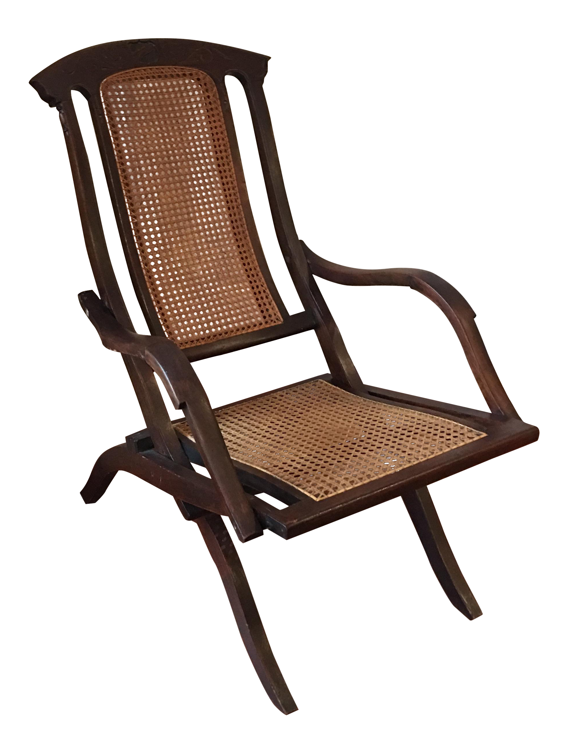 Antique Cane Folding Deck Chair   Image 1 Of 11