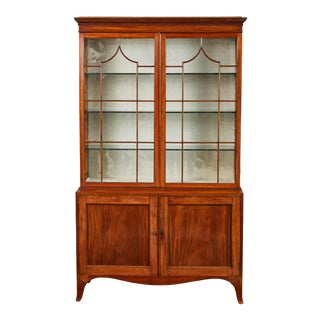 18th C. English Mahogany George III Display Cabinet For Sale