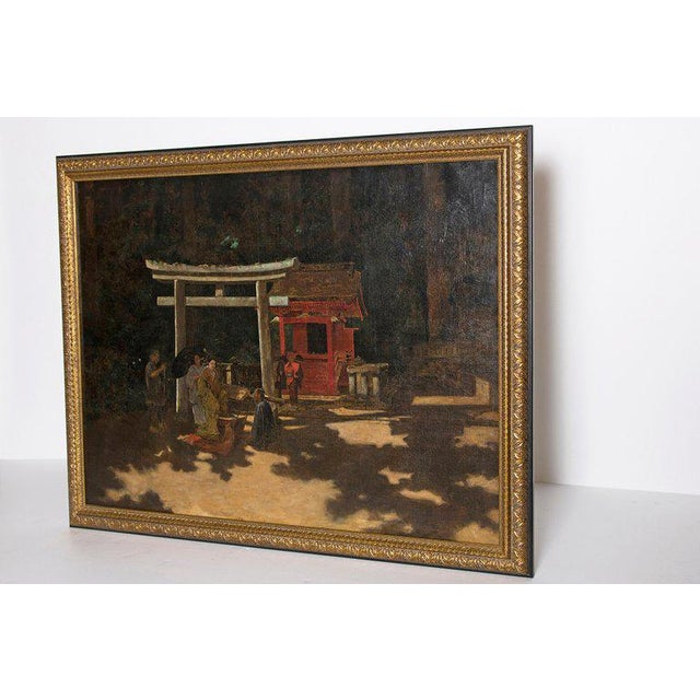 "A realistically depicted oil on canvas titled ""A Courtyard Ceremony, Nikko"" by Austrian artist Francis Neydhart,..."