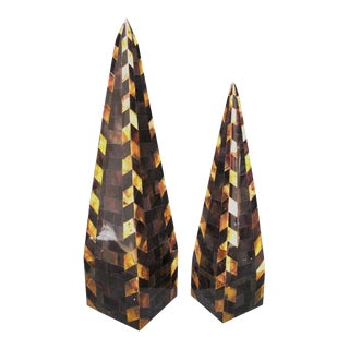 Large Vintage Genuine Two-Tone Horn Veneered Obelisks Circa 1970s - A Pair