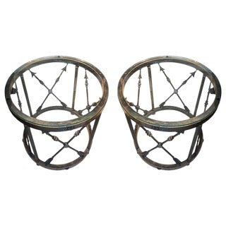 Italian Drum Side Tables With Arrow Details-A Pair For Sale