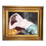 Image of Vintage Nude Female Oil Painting For Sale