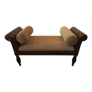 Woven Rattan Bench Wit Curved Arms and Upholstered Seat For Sale