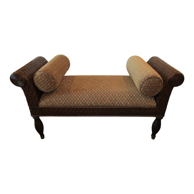 Awesome Woven Rattan Bench Wit Curved Arms And Upholstered Seat Short Links Chair Design For Home Short Linksinfo