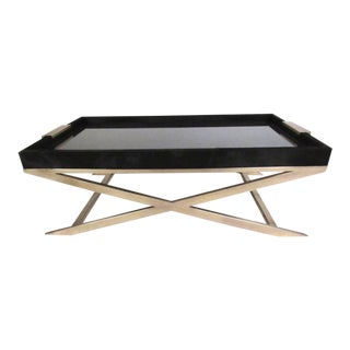 Modern Glass Topped Brass X-Base Coffee Table