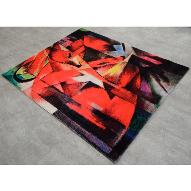 "Modern Franz Marc ""Foxes"" Inspired Area Rug - 4′10″ x 5′9″ For Sale - Image 3 of 10"