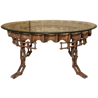 Round Industrial Gear Coffee Table With Glass Top For Sale