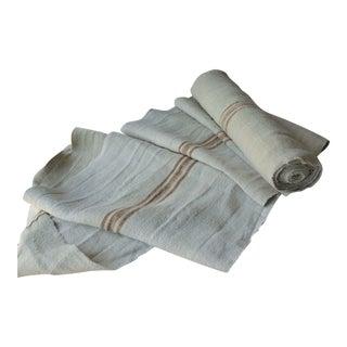 Vintage Grain Sack Linen Hemp Crinkly Washed Fabric - 9.6 Yards For Sale