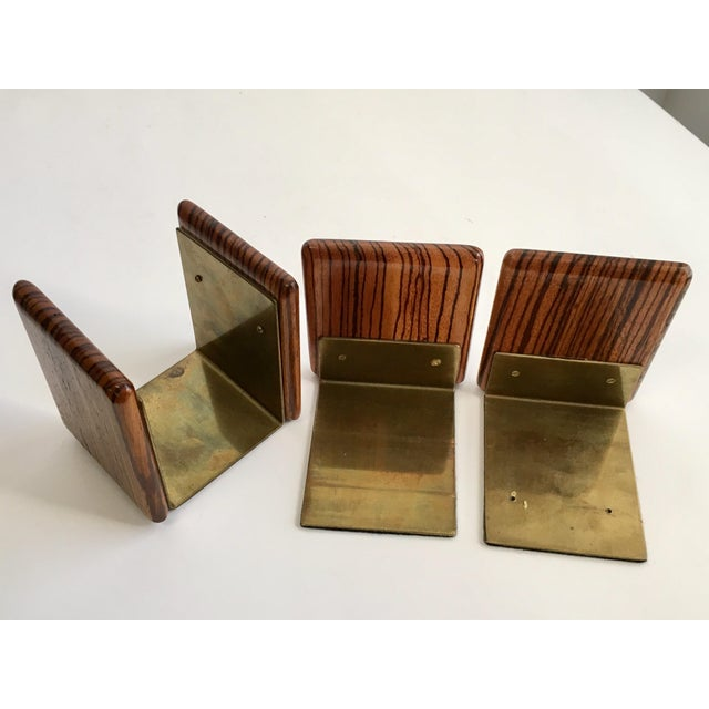 Zebra Wood and Brass Desk Set with Bookends - Set of 3 For Sale - Image 5 of 7