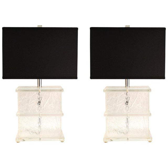 Mid-Century Modern Lucite Crackle Table Lamps With Black Shades - a Pair For Sale - Image 13 of 13