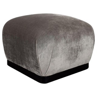 Mid-Century Modern Ebonized Walnut and Platinum Velvet Square Pouf For Sale