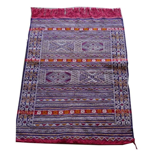 Multi-Colored Hand Woven Moroccan Rug For Sale