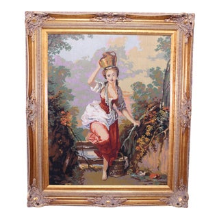Early 20th Century J B Huet Paris Needlepoint in Frame For Sale
