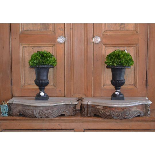 Marble Topped Wall Consoles - Pair - Image 3 of 6
