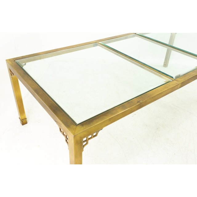Mastercraft Mid Century Solid Brass and Glass Expanding Dining Table For Sale - Image 9 of 13
