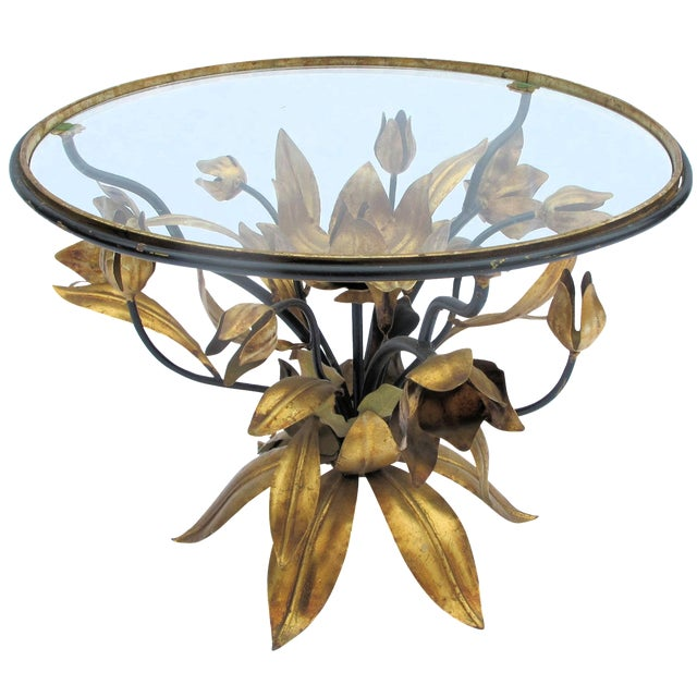 Italian Gold Leaf Occasional Side Table - Image 1 of 5