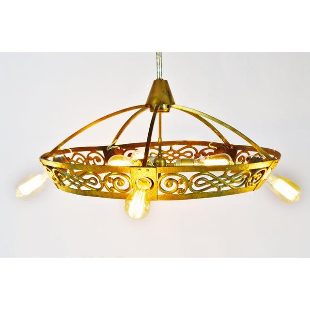 Art Deco Brass 8 Light Chandelier - Image 3 of 11