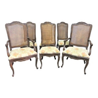 Italian Style Carved Walnut Caned Back Dining Chairs- Set of 6 For Sale