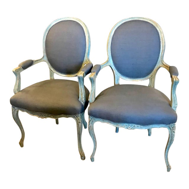 Pair of 19th Century French Louis XV Fauteuils/Open Armchairs For Sale