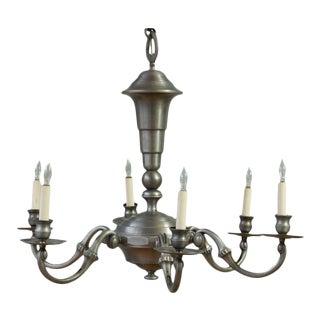 Antiqued Nickel-Plated Bronze Chandelier For Sale