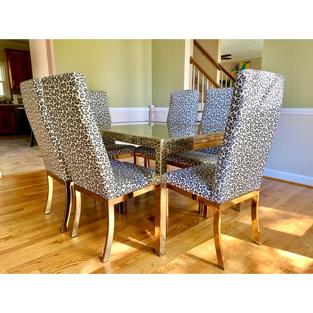 1970s Mastercraft Brass Expandable Dining Table & Mastercraft Leopard Chairs With Brass Legs - Set of 7 For Sale - Image 13 of 13