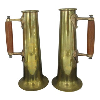 "Antique Brass Metal 11 1/2"" Beer Mug Stein Cup Set of 2 With Wood Handles For Sale"