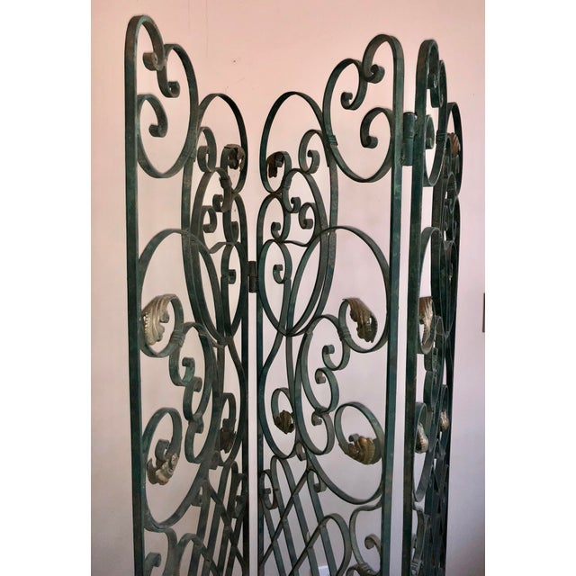 Antique Green Wrought Iron Folding Divider For Sale - Image 10 of 12