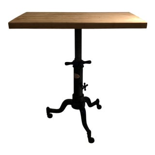 1940s Industrial Rolling Cast Iron Butcher Block Table For Sale