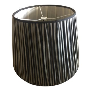 Brunschwig and Fils Black and Gray Stripe Silk Lampshade For Sale