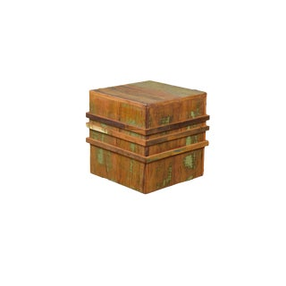 Reclaimed Wood Cubic Stool on Casters For Sale