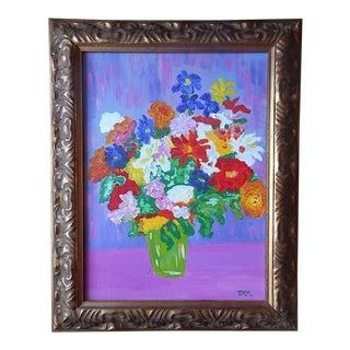 Original Signed Vintage Impressionist Acrylic on Canvas-Still Life-Flowers in Vase For Sale