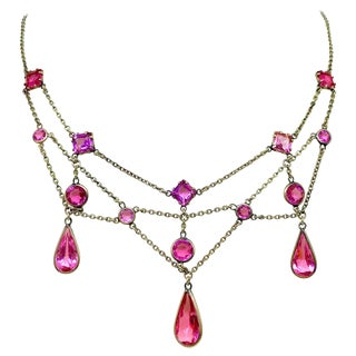 Early 1900s Gold-Filled and Pink Faceted Glass Festoon Necklace For Sale