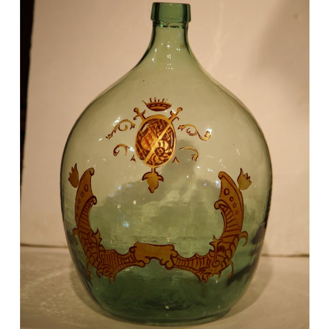 Large Handblown Demijohn Glass Bottle from France with Painted Coat of Arms - Image 7 of 9