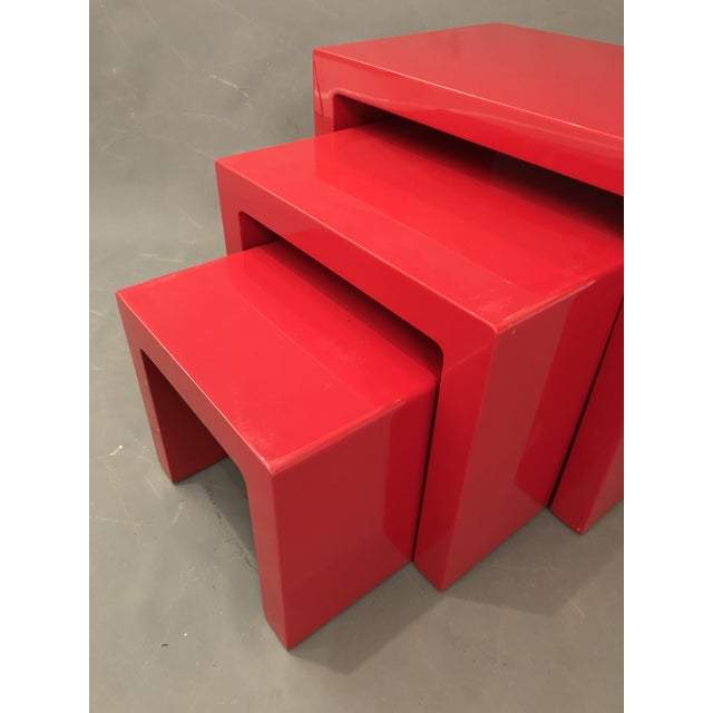 1970s Mid Century Glossy Lacquered Red Waterfall End Tables- 3 Pieces For Sale - Image 5 of 13