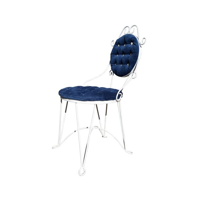 Metal 1960s Antique Iron Blue Velvet Vanity Single Chair For Sale - Image 7 of 7
