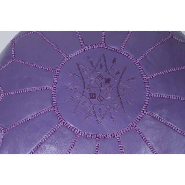 Hand-Tooled Moroccan Lavender Color Leather Pouf For Sale - Image 4 of 5