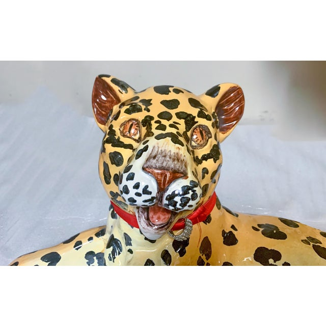 Ceramic Mother and Baby Italian Terracotta Leopard Figurines For Sale - Image 7 of 9