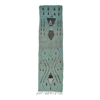 Vintage Aqua and Charcoal Tribal Runner For Sale