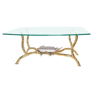 1970s Hollywood Regency Jacques Duval Brasseur Brass Coffee Table