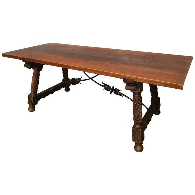 18th Spanish Refectory Desk Table With Solomonic Legs and Iron Stretcher For Sale - Image 13 of 13