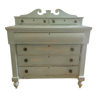 1950s Tradtiional Painted and Distressed Light Mint Dresser