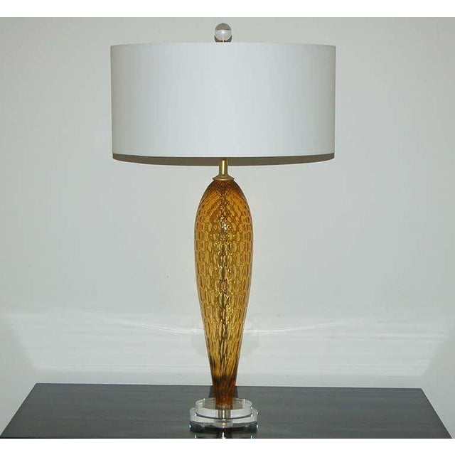 Gold Vintage Italian Glass Table Lamps Butterscotch For Sale - Image 8 of 9