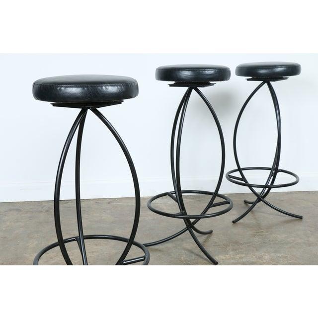 Wrought Iron Leather Seat Bar Stools - Set of 3 - Image 11 of 11