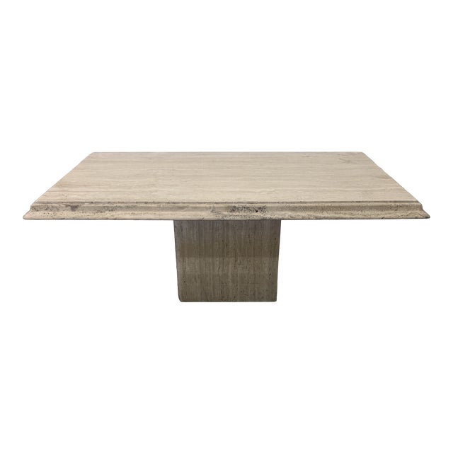 Italian Travertine Marble Dining Table For Sale