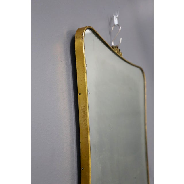 1950s Italian MidCentury Mirror Attributed to Gio Ponti in Brass, 1950s For Sale - Image 5 of 7