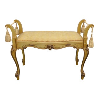 French Provincial Rococo Style Gold Carved Wood Bench With Tassels 1936 For Sale