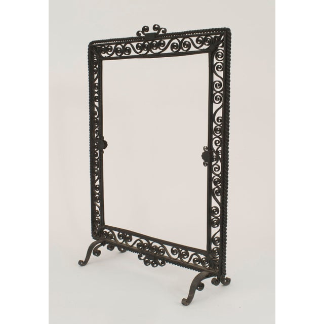 American Art Deco Wrought Iron Fire Screen For Sale - Image 4 of 4