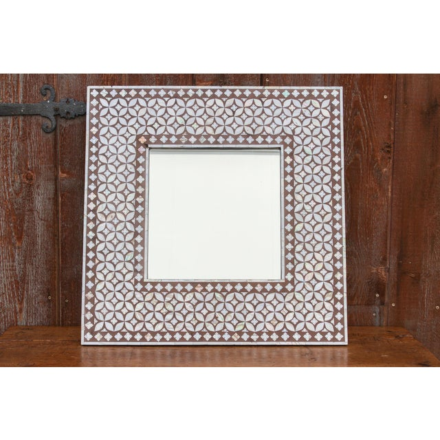 Wood Exquisite Geometric Inlaid Square Mirror For Sale - Image 7 of 7